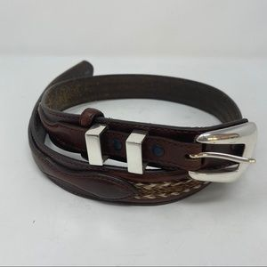 Tony Lama Brown Tooled Leather Woven Belt Size 30